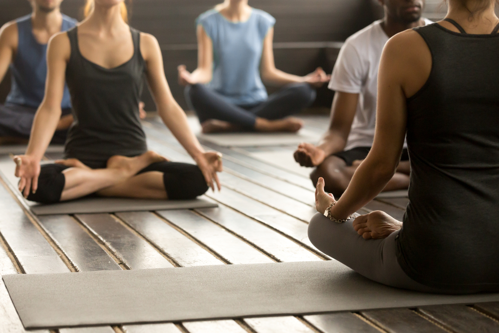 Group,Of,Young,Sporty,People,Practicing,Yoga,Lesson,With,Instructor,